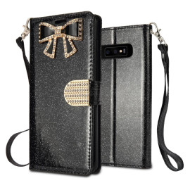 Samsung Galaxy S10 Plus Diamond Bow Glitter Leather Wallet Case Cover Black