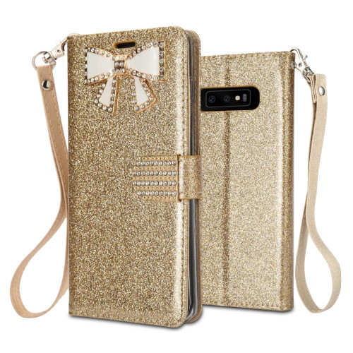 Samsung Galaxy S10 Plus Diamond Bow Glitter Leather Wallet Case Cover Pink