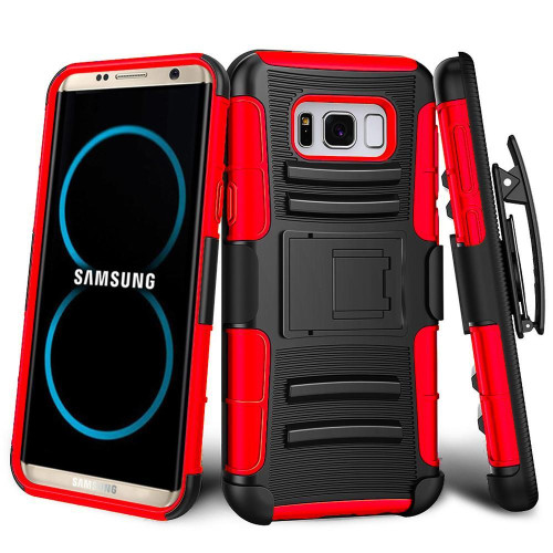 Samsung Galaxy S8 Plus protect Belt Clip Holster Case Cover Red