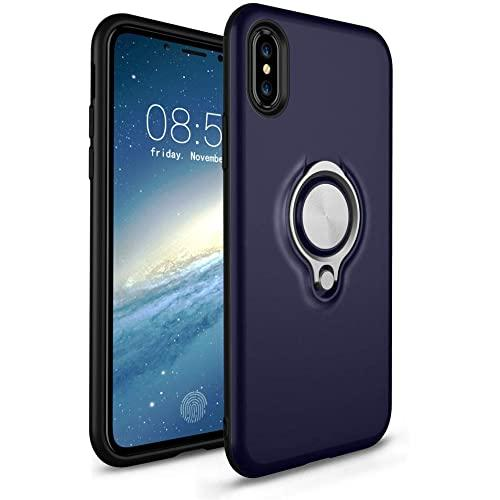 """Apple Iphone Xs Max (6.5"""") Ultra Slim Magnet Finger Ring Stand Hybrid Case Cover"""
