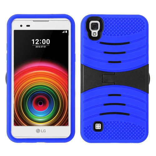 Lg Tribute Hd / X Style / Ls676 Hybrid Silicone Case Cover Stand Blue