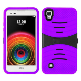 Lg Tribute Hd / X Style / Ls676 Hybrid Silicone Case Cover Stand Purple