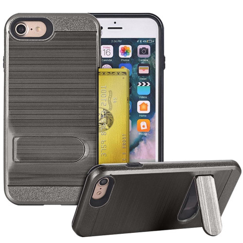 Apple Iphone 8 / 7 Brushed Shockproof With Kickstand Card Slot Holder Case Cover Gray