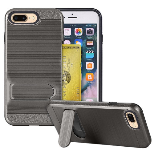 Apple Iphone 8 Plus / 7 Plus Brushed Shockproof With Kickstand Card Slot Holder Case Cover Gray