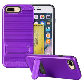 Apple Iphone 8 Plus / 7 Plus Brushed Shockproof With Kickstand Card Slot Holder Case Cover Purple