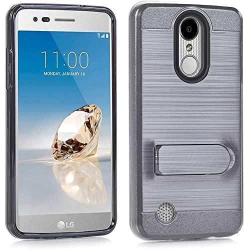 Lg Lv3 / Ms210 / Aristo Brushed Shockproof With Kickstand Card Slot Holder Case Cover Gray