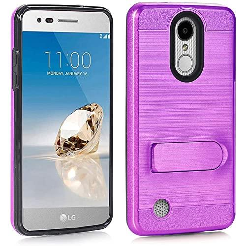 Lg Lv3 / Ms210 / Aristo Brushed Shockproof With Kickstand Card Slot Holder Case Cover Purple