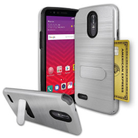Lg Stylo 3 / Stylus 3 / Stylo 3 Plus / Ls777 Brushed Shockproof With Kickstand Card Slot Holder Case Cover Silver