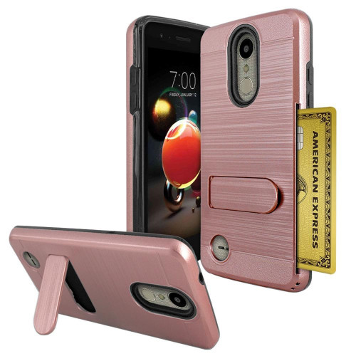 Lg Aristo 2 / X210 / Tribute Dynasty / K8 2018 Brushed Shockproof With Kickstand Card Slot Holder Case Cover Rose Gold