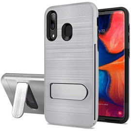 Samsung Galaxy A20 / A30 / A50 Brushed Shockproof With Kickstand Card Slot Holder Case Cover