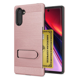 For Samsung Galaxy Note 10 Brushed Shockproof With Kickstand Card Slot Holder Case Cover