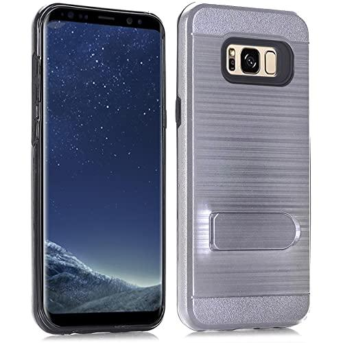 Samsung Galaxy S8 Brushed Shockproof With Kickstand Card Slot Holder Case Cover Gray