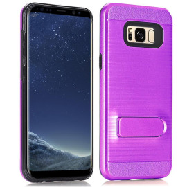 Samsung Galaxy S8 Brushed Shockproof With Kickstand Card Slot Holder Case Cover Purple