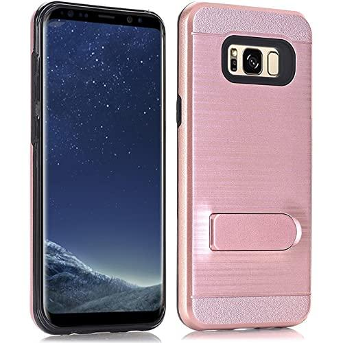 Samsung Galaxy S8 Brushed Shockproof With Kickstand Card Slot Holder Case Cover Rose Gold