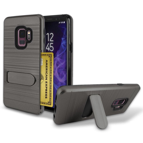 Samsung Galaxy S9 Brushed Shockproof With Kickstand Card Slot Holder Case Cover Purple