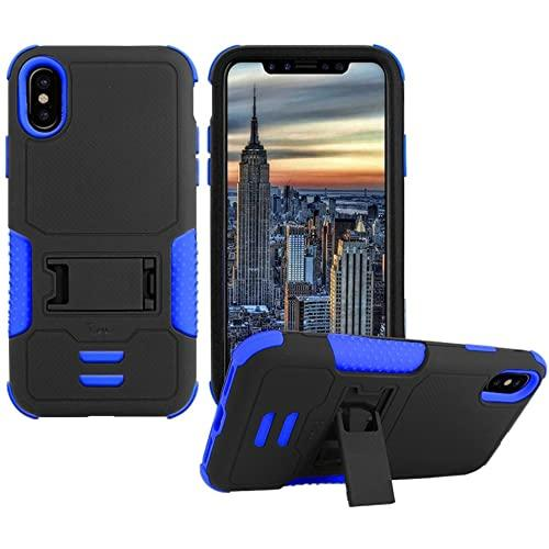 Iphone X Impact Silicone Case Dual Layer With Stand Blue