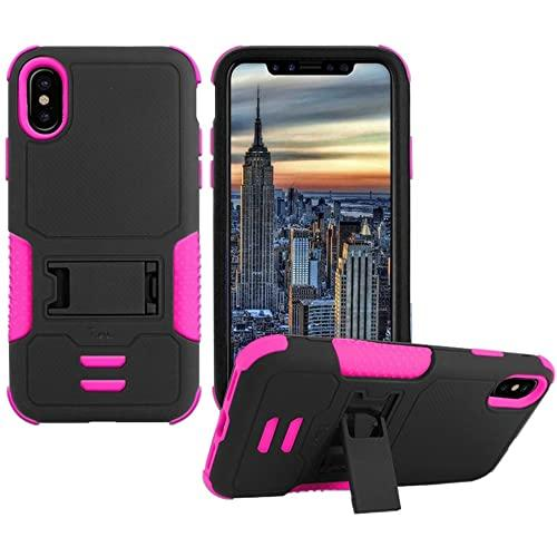 Iphone X Impact Silicone Case Dual Layer With Stand Pink