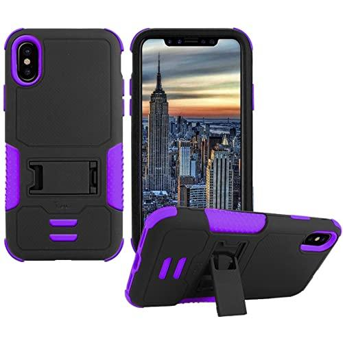 Iphone X Impact Silicone Case Dual Layer With Stand Purple