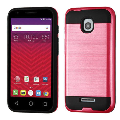 Alcatel Onetouch Dawn / Acquire Streak Hybrid Metal Brushed Shockproof Tough Case Cover Pink
