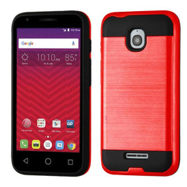 Alcatel Onetouch Dawn / Acquire Streak Hybrid Metal Brushed Shockproof Tough Case Cover Red