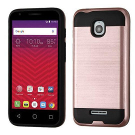Alcatel Onetouch Dawn / Acquire Streak Hybrid Metal Brushed Shockproof Tough Case Cover Rose Gold