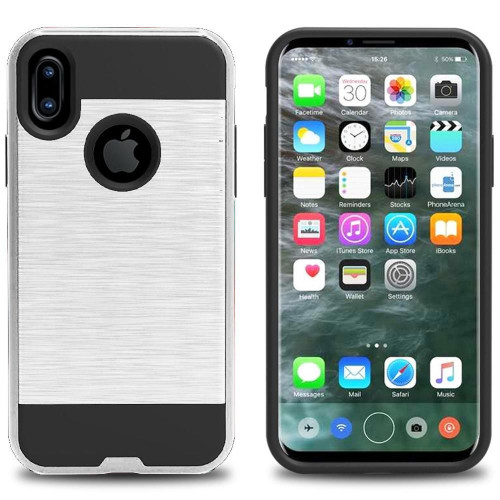 Apple Iphone X Hybrid Metal Brushed Shockproof Tough Case Cover Silver