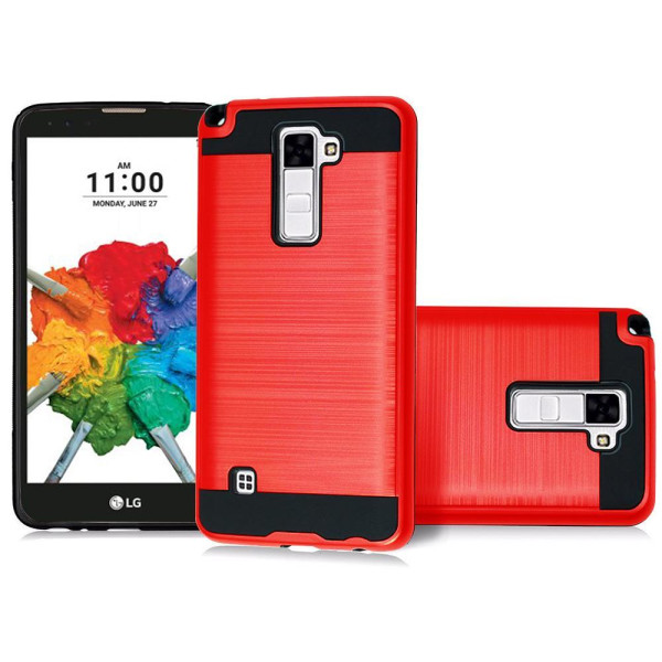 Lg G Stylo 2 Plus / Ms550 Hybrid Metal Brushed Shockproof Tough Case Cover Red