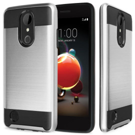 Lg Aristo 2 / X210 / Tribute Dynasty / K8 2018 Hybrid Metal Brushed Shockproof Tough Case Cover Silver