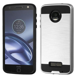 Motorola Moto Z Force Droid Edition / Xt1650 Hybrid Metal Brushed Shockproof Tough Case Cover Silver