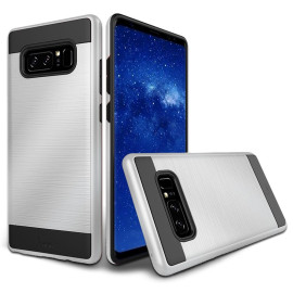 Samsung Galaxy Note 8 Hybrid Metal Brushed Shockproof Tough Case Cover Silver