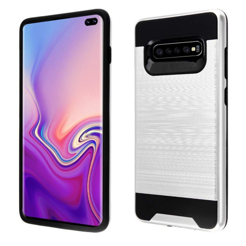 Samsung Galaxy S10E Hybrid Metal Brushed Shockproof Tough Case Cover Silver