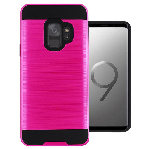 Samsung Galaxy S9 Hybrid Metal Brushed Shockproof Tough Case Cover Pink