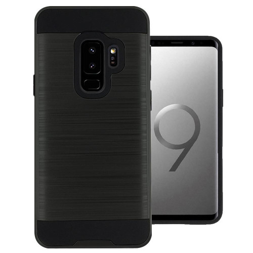Samsung Galaxy S9 Plus Hybrid Metal Brushed Shockproof Tough Case Cover Black