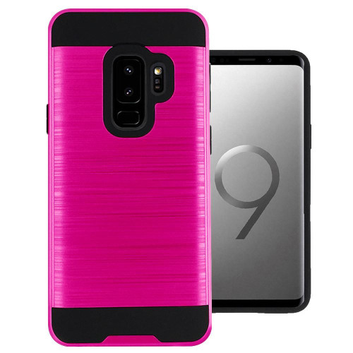Samsung Galaxy S9 Plus Hybrid Metal Brushed Shockproof Tough Case Cover Pink