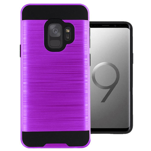 Samsung Galaxy S9 Hybrid Metal Brushed Shockproof Tough Case Cover Purple