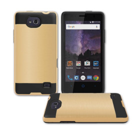 Zte Tempo / N9131 Hybrid Metal Brushed Shockproof Tough Case Cover Gold