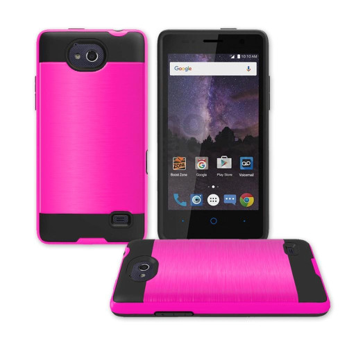 Zte Tempo / N9131 Hybrid Metal Brushed Shockproof Tough Case Cover Pink