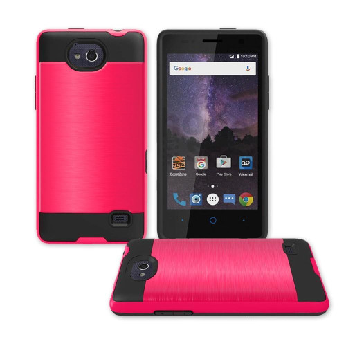 Zte Tempo / N9131 Hybrid Metal Brushed Shockproof Tough Case Cover Red