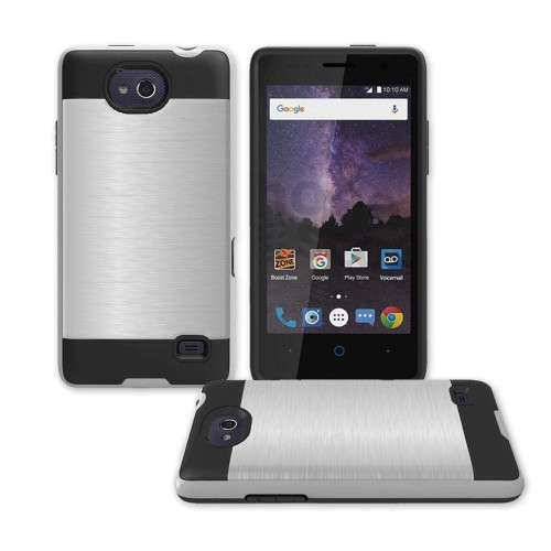 Zte Tempo / N9131 Hybrid Metal Brushed Shockproof Tough Case Cover Silver