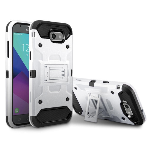 Samsung Galaxy On 7 2016 / J7 Prime / J7 2017 protect Hybrid Dual Layer Shockproof Touch Kickstand Case Cover White