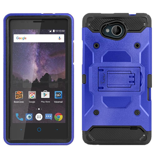 Zte Tempo / N9131 protect Hybrid Dual Layer Shockproof Touch Kickstand Case Cover Blue