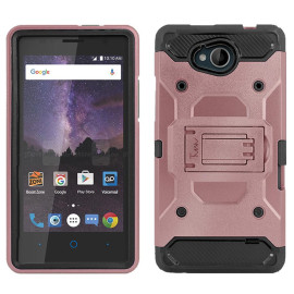 Zte Tempo / N9131 protect Hybrid Dual Layer Shockproof Touch Kickstand Case Cover Rose Gold