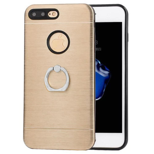 Apple Iphone 8 / 7 Metal Brushed Shockproof Hybrid Ring Stand Case Cover Gold