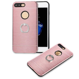 Apple Iphone 8 Plus / 7 Plus Metal Brushed Shockproof Hybrid Ring Stand Case Cover Rose Gold