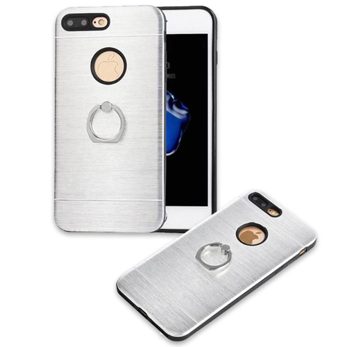 Apple Iphone 8 Plus / 7 Plus Metal Brushed Shockproof Hybrid Ring Stand Case Cover Silver
