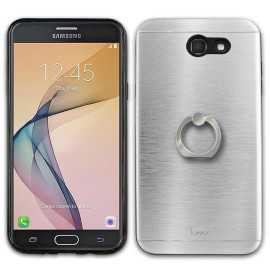 Samsung Galaxy J3 Emerge 2017 / J327P Metal Brushed Shockproof Hybrid Ring Stand Case Cover Silver