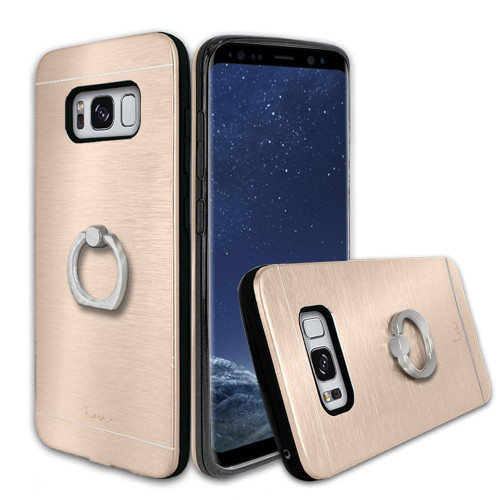 Samsung Galaxy S8 Metal Brushed Shockproof Hybrid Ring Stand Case Cover Gold