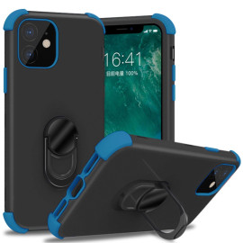 Apple Iphone 11 Dual Layer Silicone Shockproof Defender Ring Stand Case Cover Black/Blue