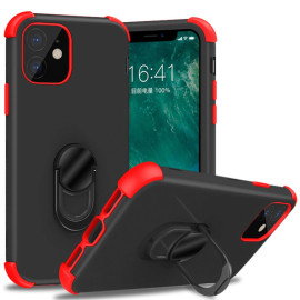 For Apple Iphone 11 Dual Layer Silicone Shockproof Defender Ring Stand Case Cover