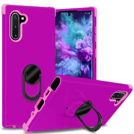 For Samsung Galaxy Note 10 Dual Layer Silicone Shockproof Defender Ring Stand Case Cover